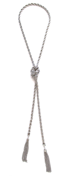 Twisted Chain Tassel Necklace- Silver