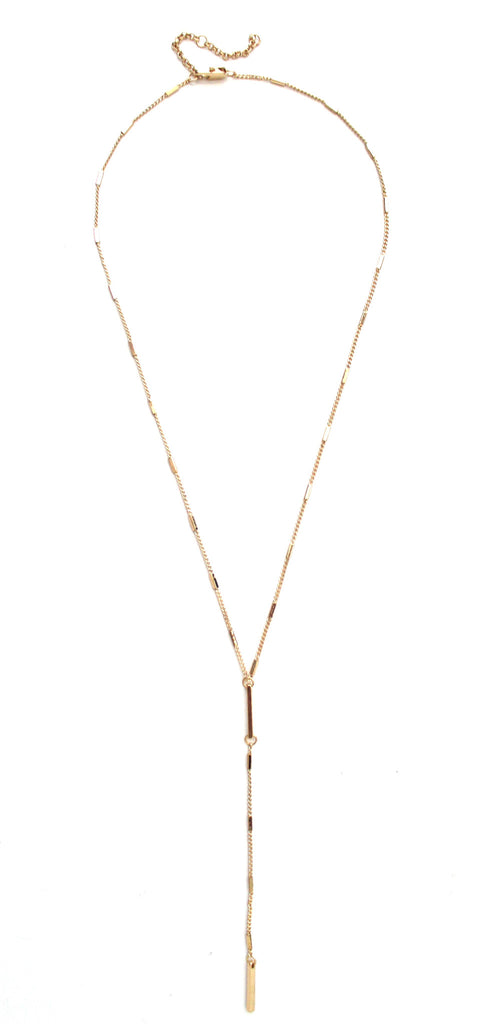 Y Metal Bars Drop Necklace- Gold