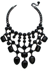 Luxe Black Jewel Statement Necklace