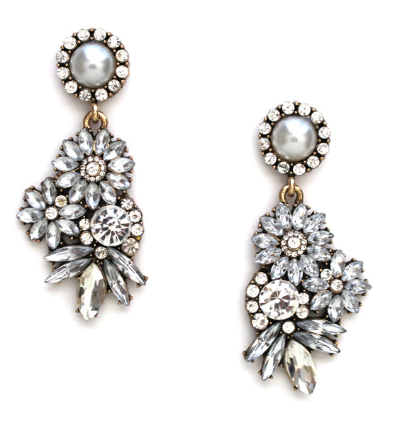 Pearl & Crystal Floral Motif Earrings