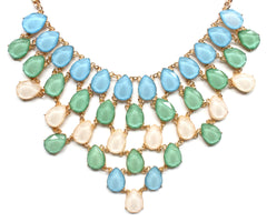 Draped Jewel Statement Necklace- Blue