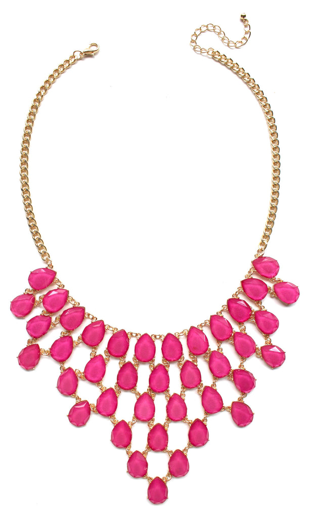 Draped Jewel Statement Necklace- Fuchsia