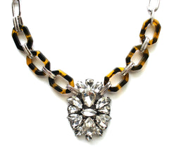 Tortoise & Crystal Pendant Statement Necklace- Silver Chain