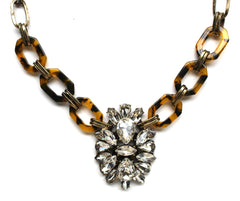Tortoise & Crystal Pendant Statement Necklace- Brass Chain