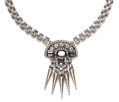 Boho Spike Necklace- Silver