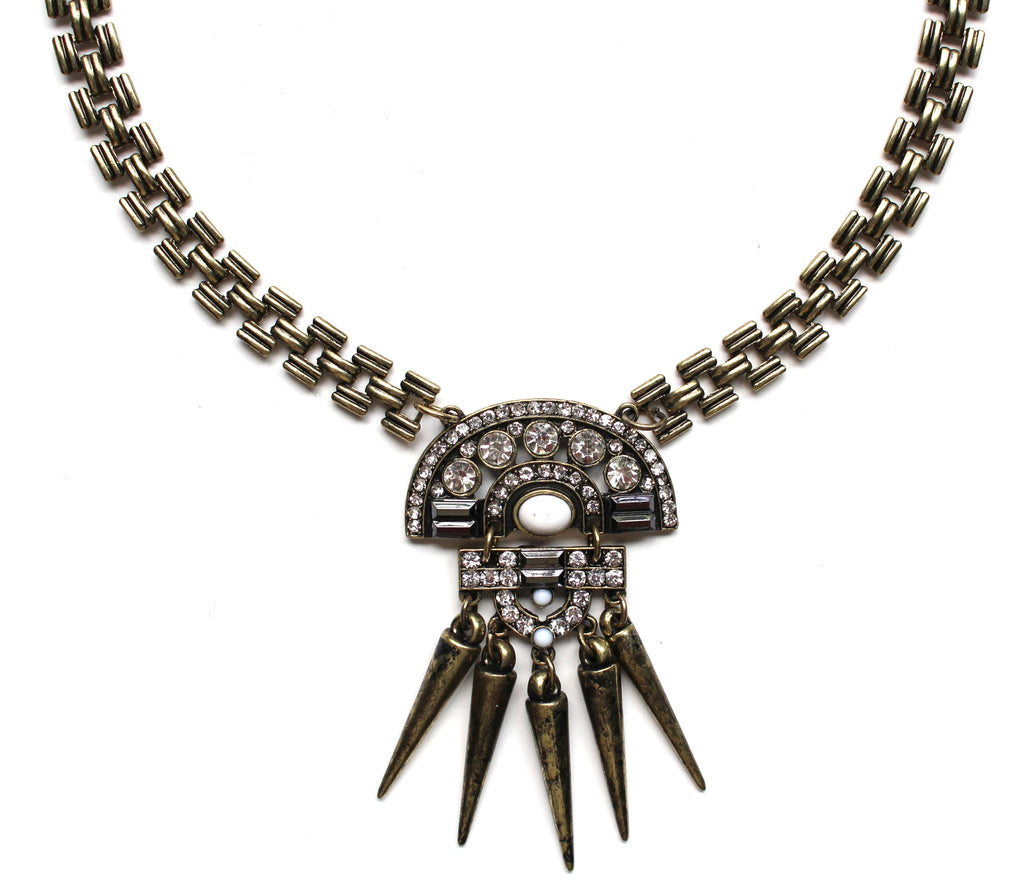Boho Spike Necklace- Brass