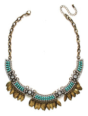 Golden Boho Fringe Necklace- Mint