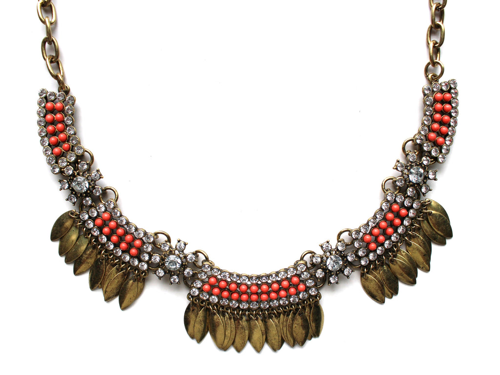 Golden Boho Fringe Necklace- Coral