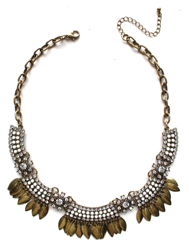 Golden Boho Fringe Necklace- White