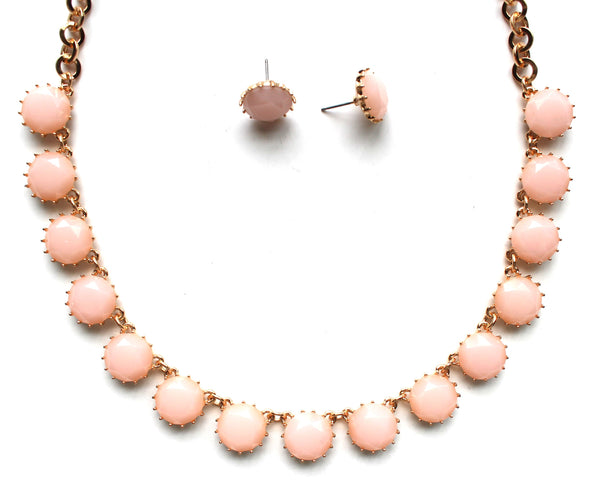 Classic Stone Necklace & Earring Set- Pale Pink
