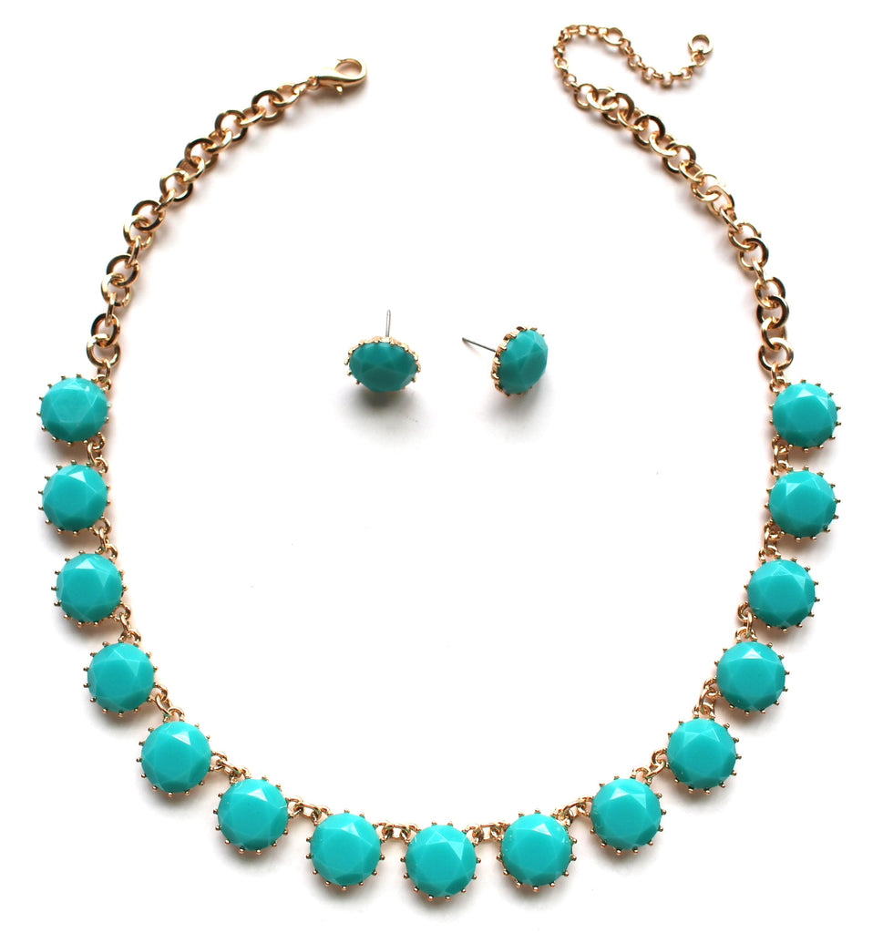 Classic Stone Necklace & Earring Set- Turquoise