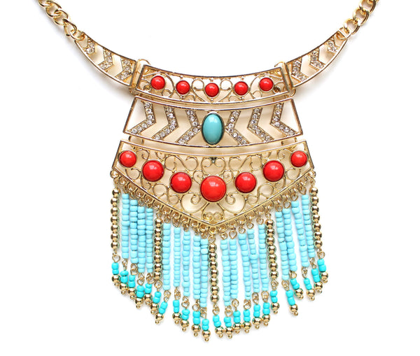 Boho Chic Beaded Fringe Necklace