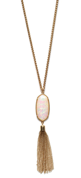 Long Chain & Stone Tassel Necklace- White Opal
