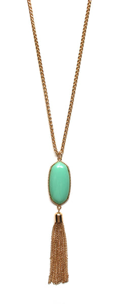 Long Chain & Stone Tassel Necklace- Mint