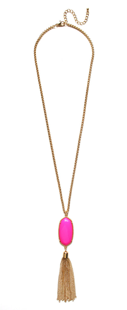 Long Chain & Stone Tassel Necklace- Hot Pink