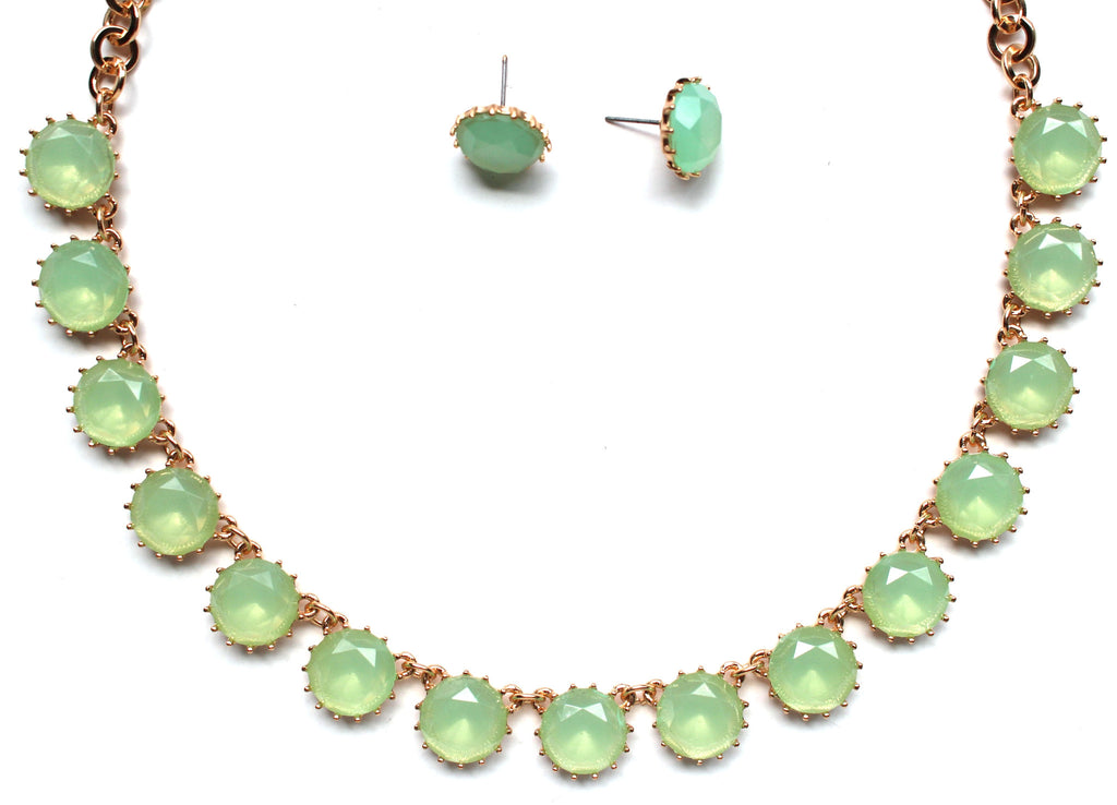 Classic Stone Necklace & Earring Set- Mint