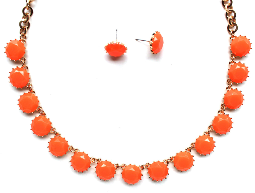 Classic Stone Necklace & Earring Set- Neon Orange