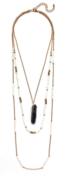 Beads & Chains Layered Necklace- White