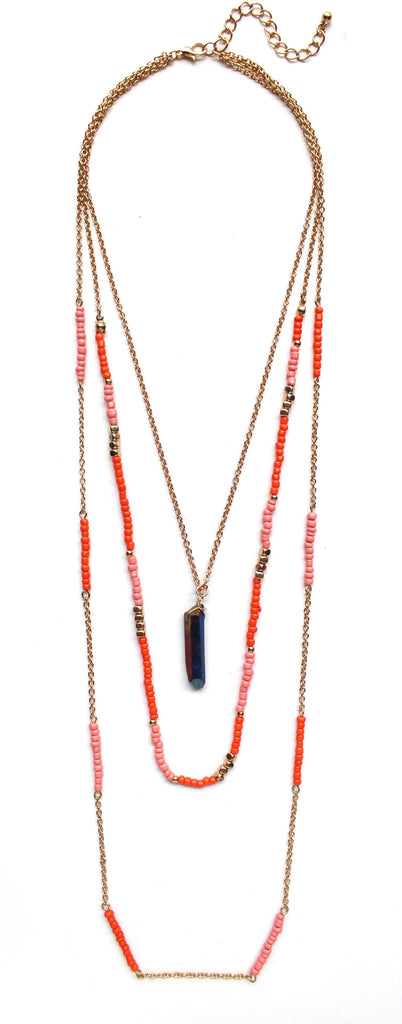 Beads & Chains Layered Necklace- Orange/Pink