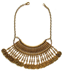 JL Antiqued Metal Coin Mini Bib Necklace- Gold
