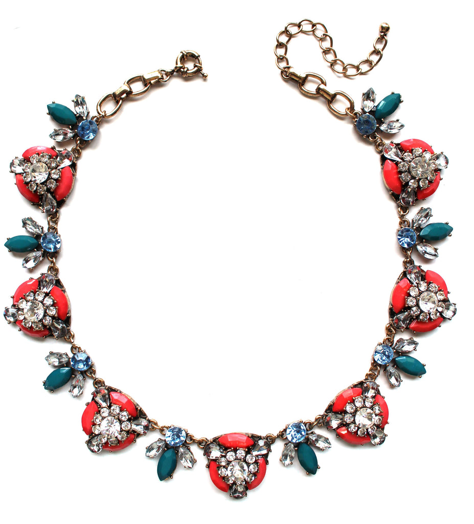Coral Floral Statement Necklace