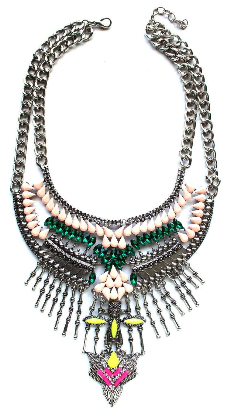 Gypsy Bling Statement Necklace- Multi