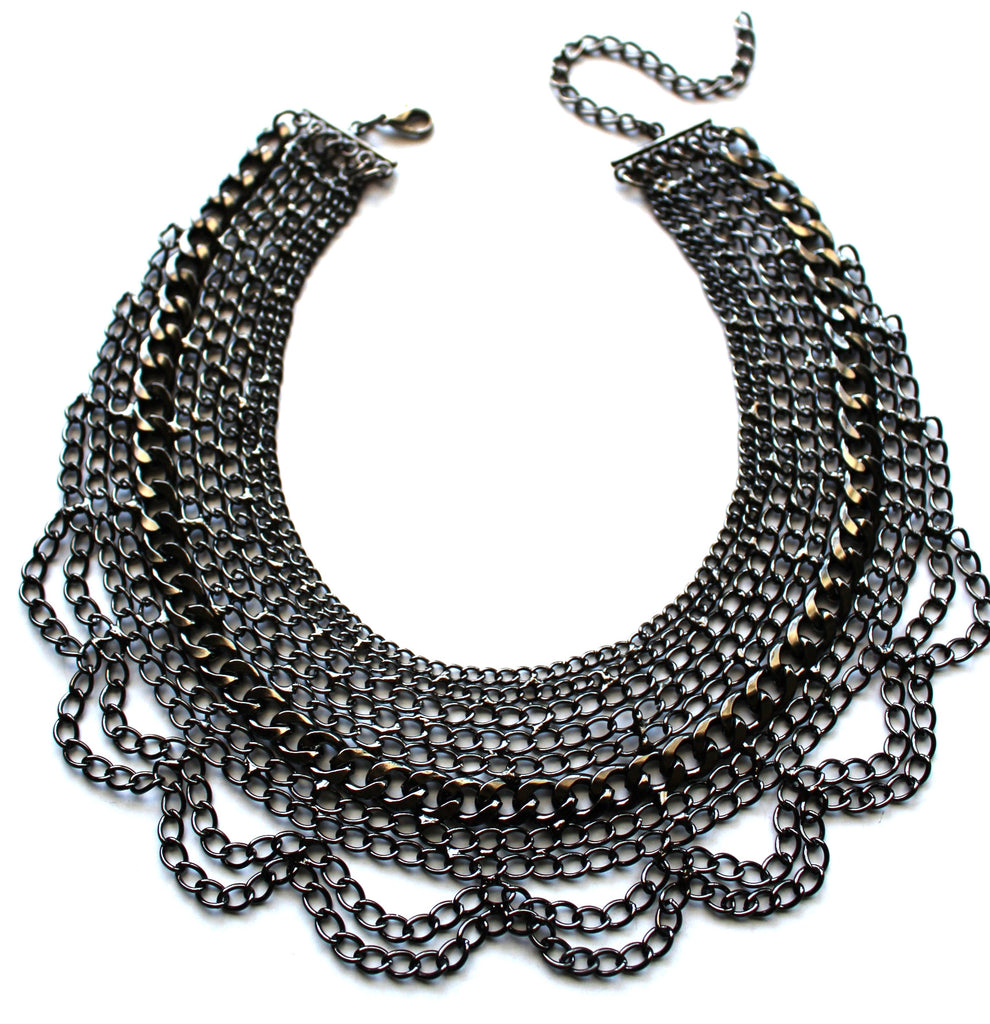 Draped In Chains Bib Necklace- Gunmetal