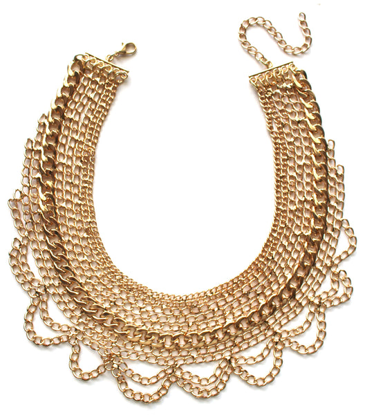Draped In Chains Bib Necklace- Gold