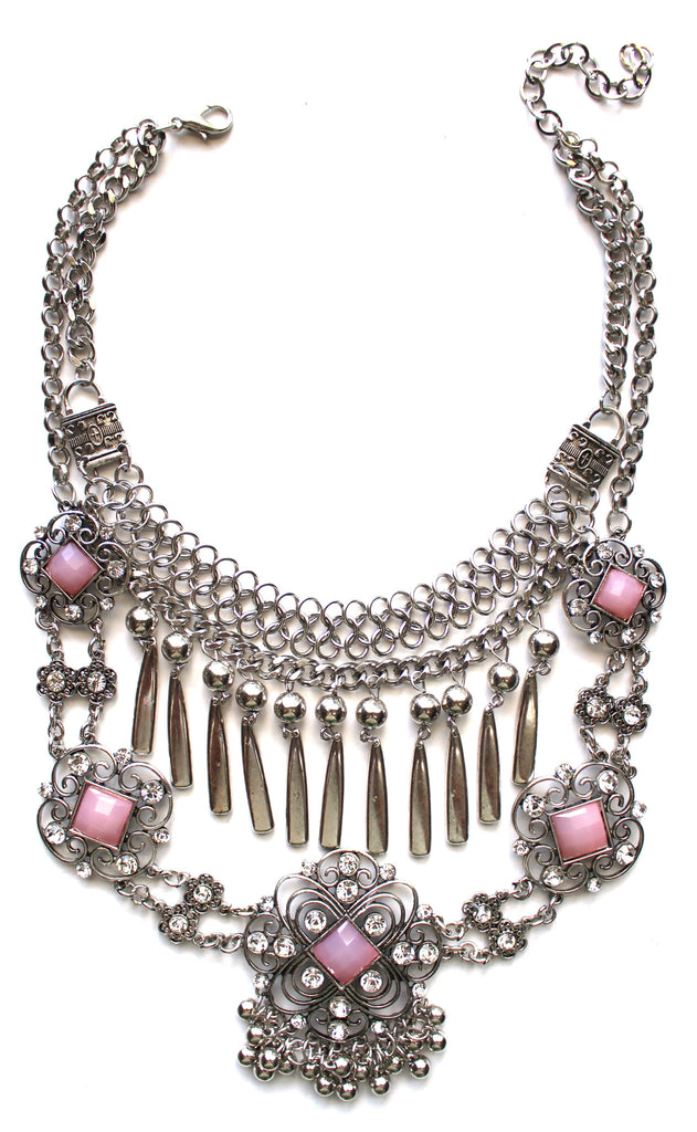 Layered Embellished Metal Droplets Necklace