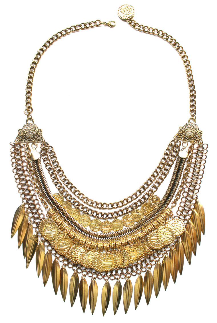 Layered Coin & Spike Fringe Necklace- Gold