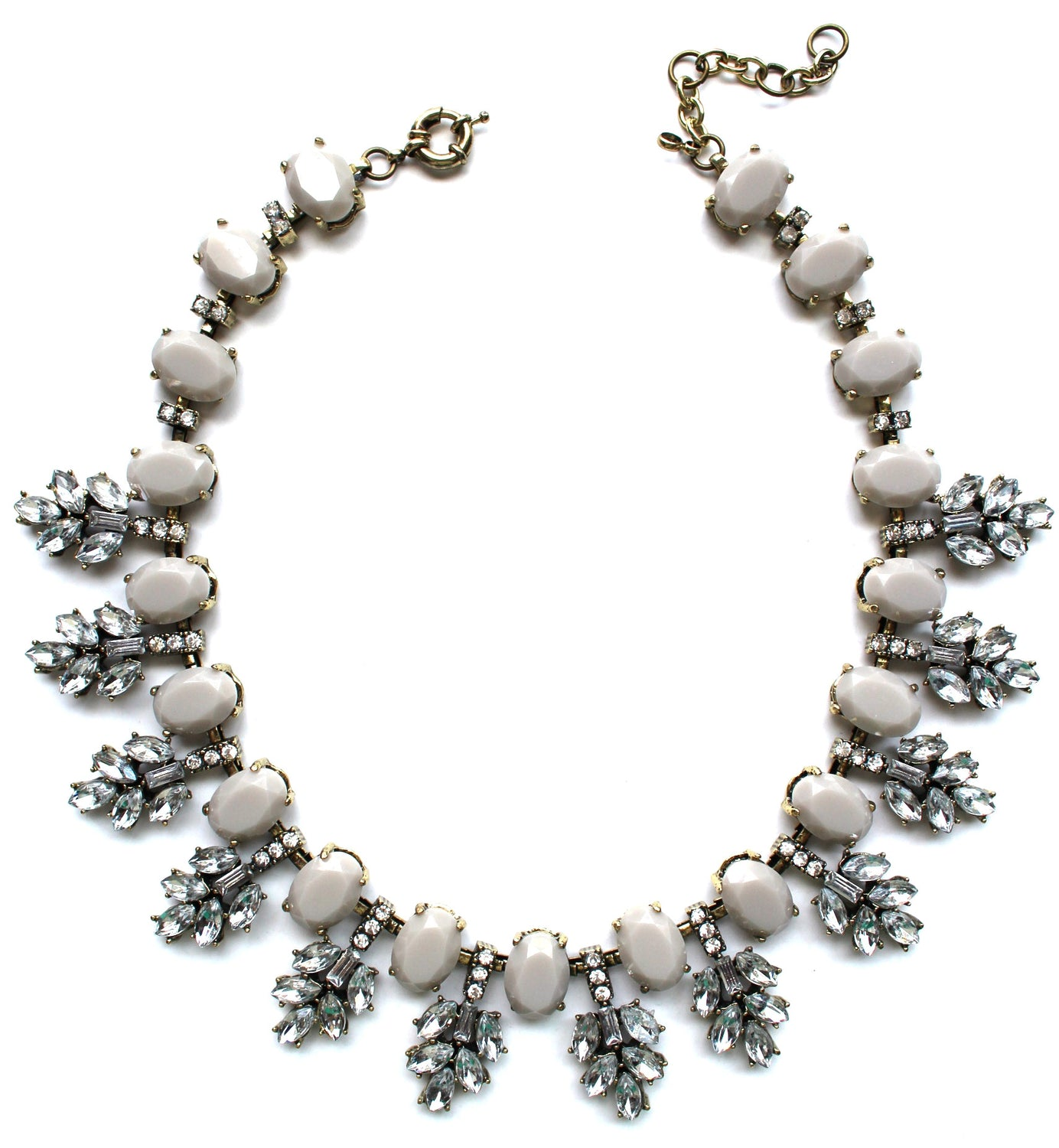 Luxe Gray Leaves Frosting Statement Necklace