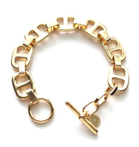Gold Square Link Toggle Bracelet