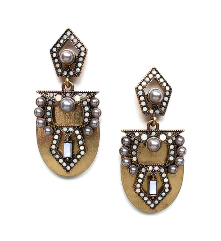 Golden Metal Studded Pearl Earrings