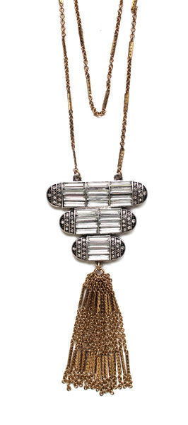 Deco Crystal Tassel Layered Long Necklace