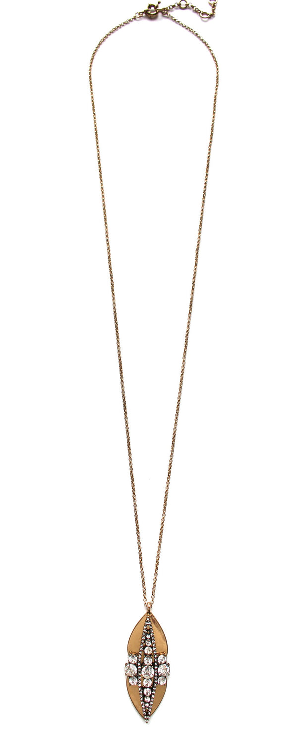 Crystal Studded Metal Long Necklace
