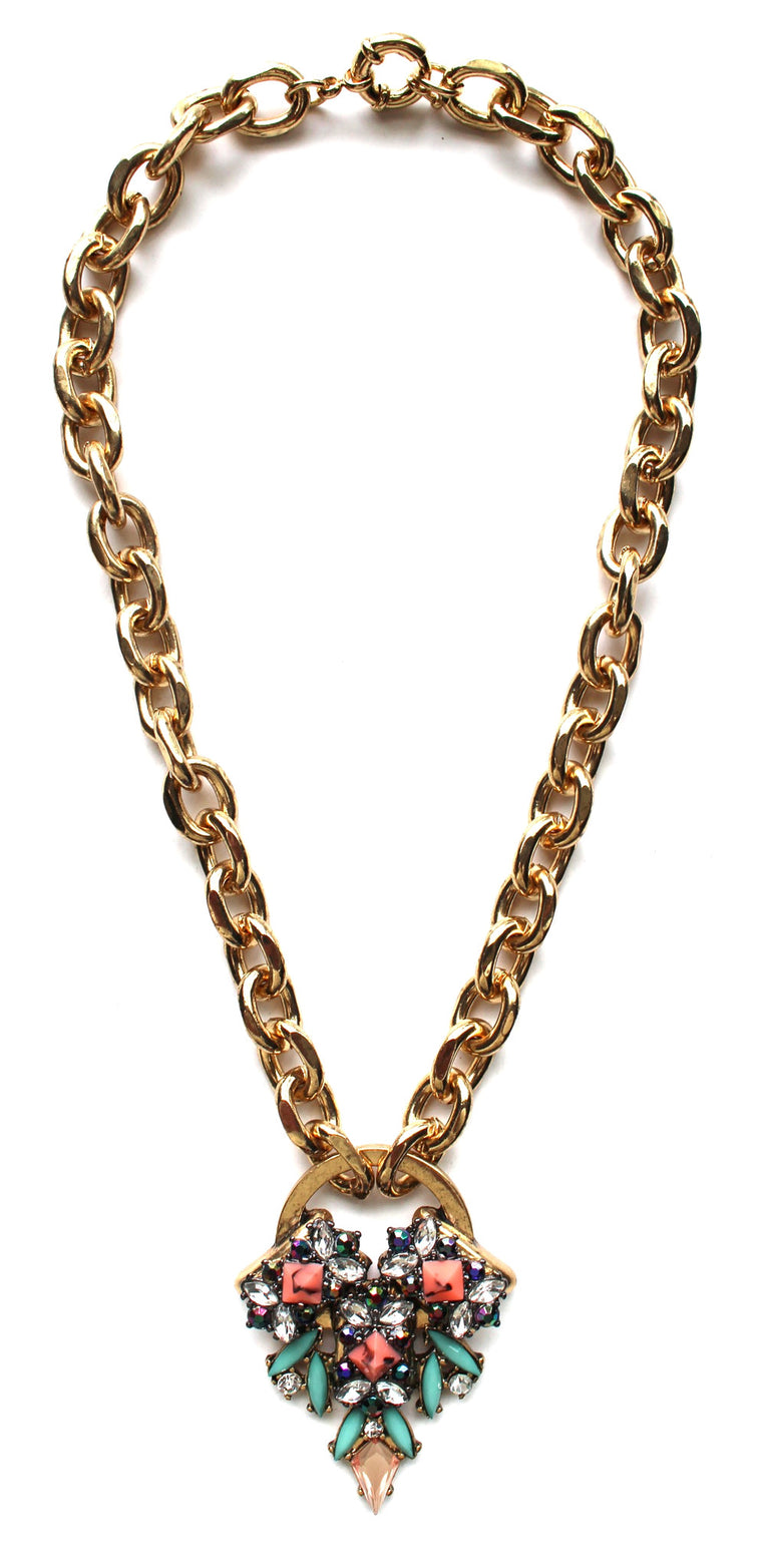Aquatic Stones Chunky Chain Necklace