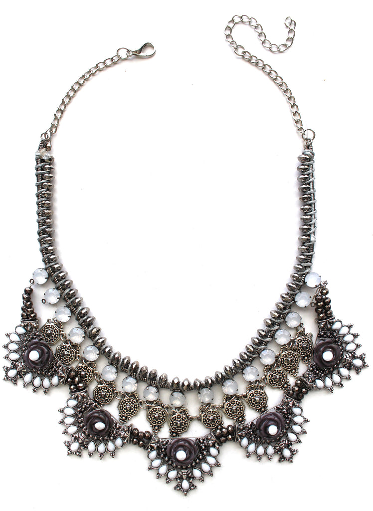 Silver Diamante Statement Necklace