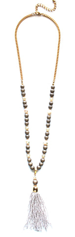 Beaded Pearl Tassel Long Necklace- Taupe