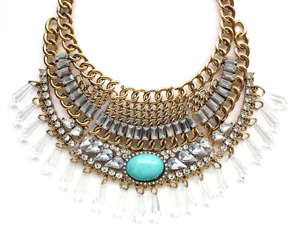 Turquoise Stone Boho Bib Necklace- Gold