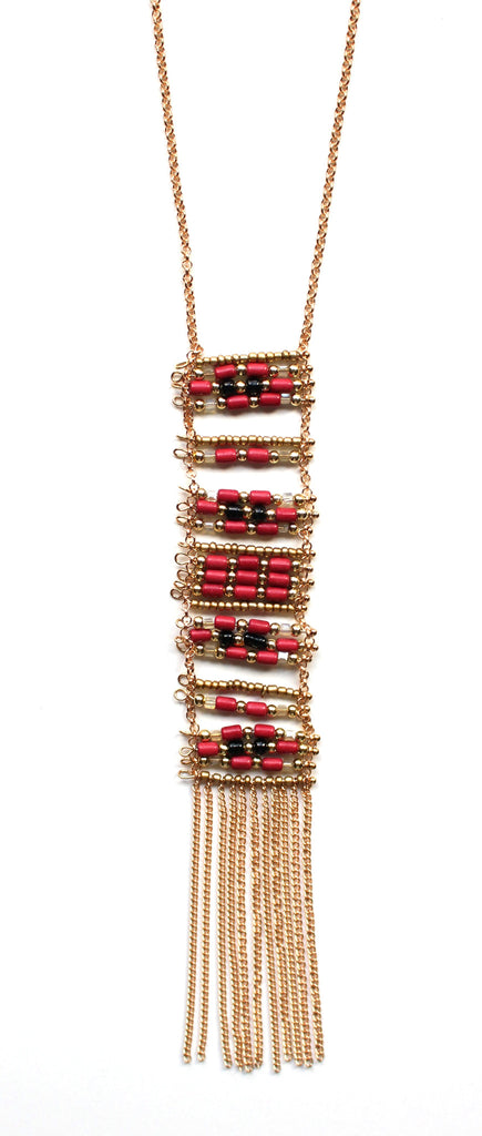 Stacked Beads & Tassels Necklace- Red