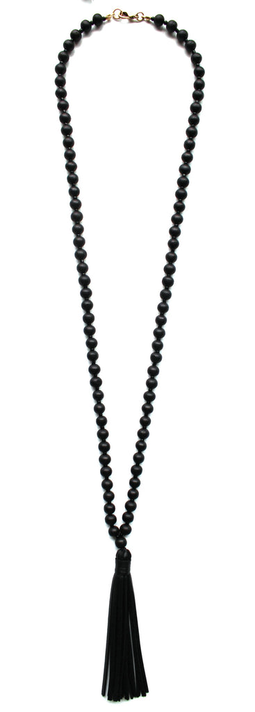 Beaded Leather Tassel Long Necklace- Black