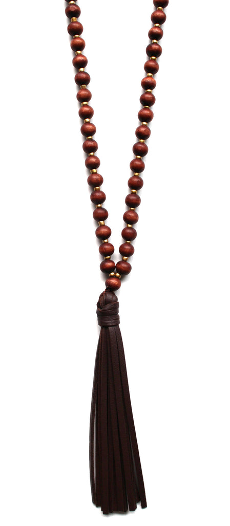 Beaded Leather Tassel Long Necklace- Brown