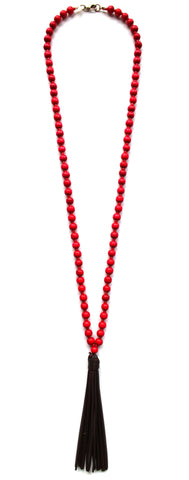 Beaded Leather Tassel Long Necklace- Red