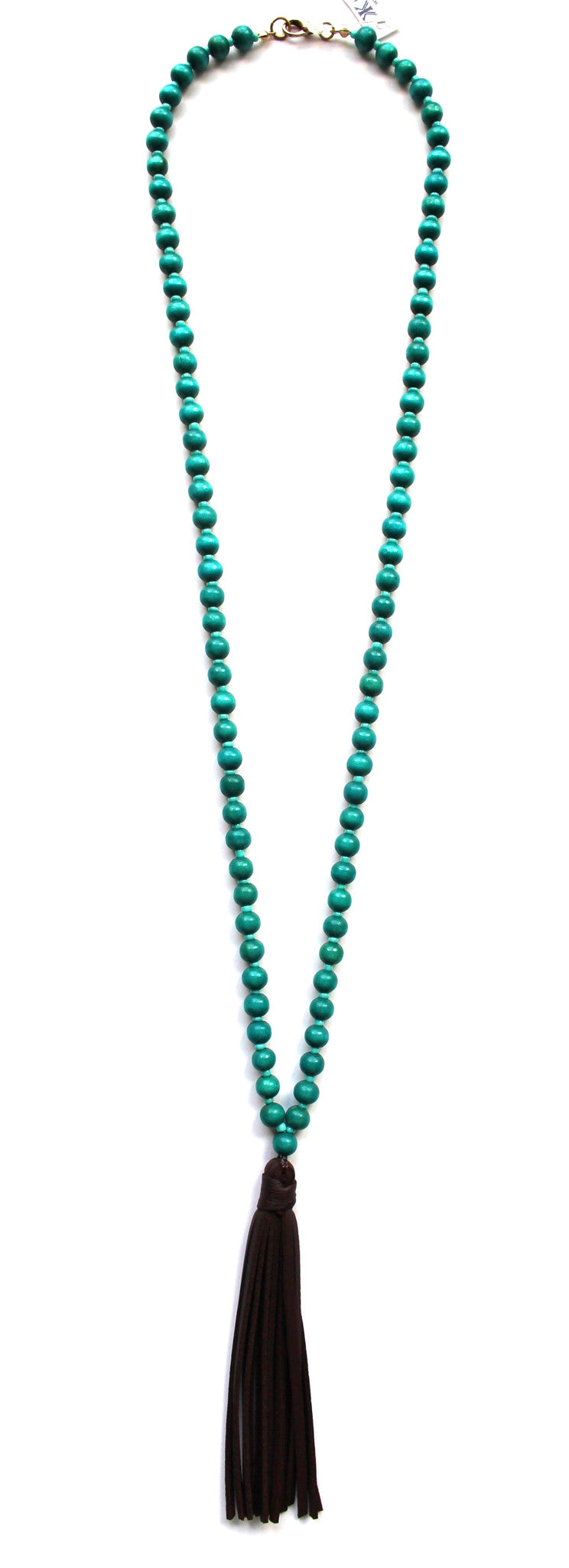 Beaded Leather Tassel Long Necklace- Turquoise