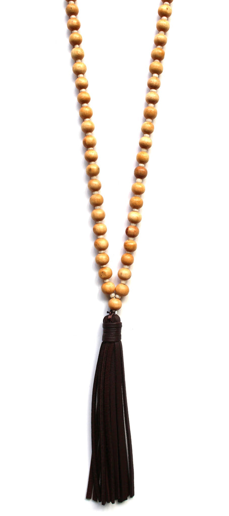 Beaded Leather Tassel Long Necklace- Light Brown