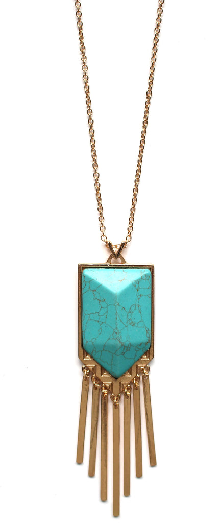 Turquoise Stone Metal Fringe Necklace