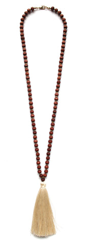 Beaded Tassel Long Necklace- Ivory