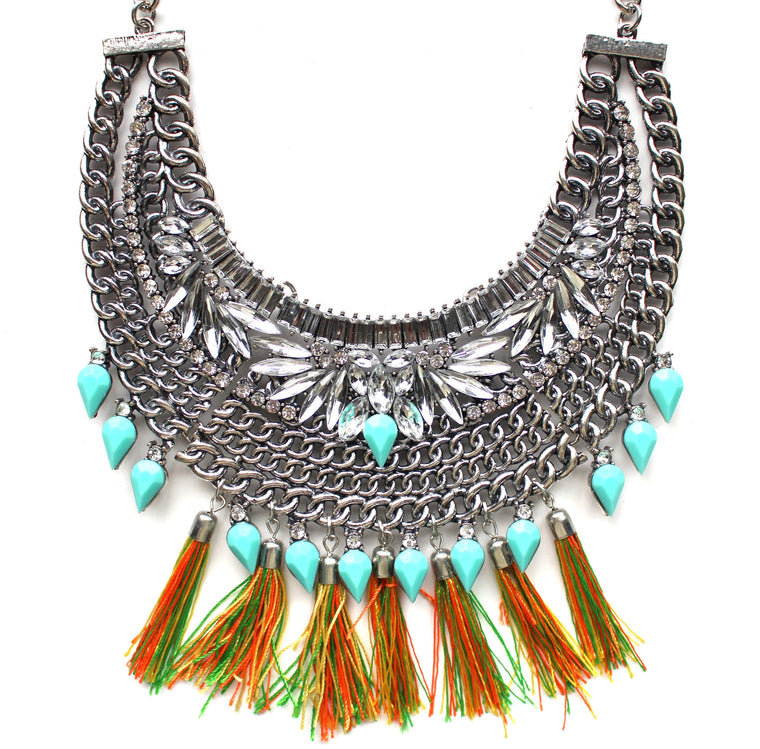 Color Stone Armor Bib Necklace