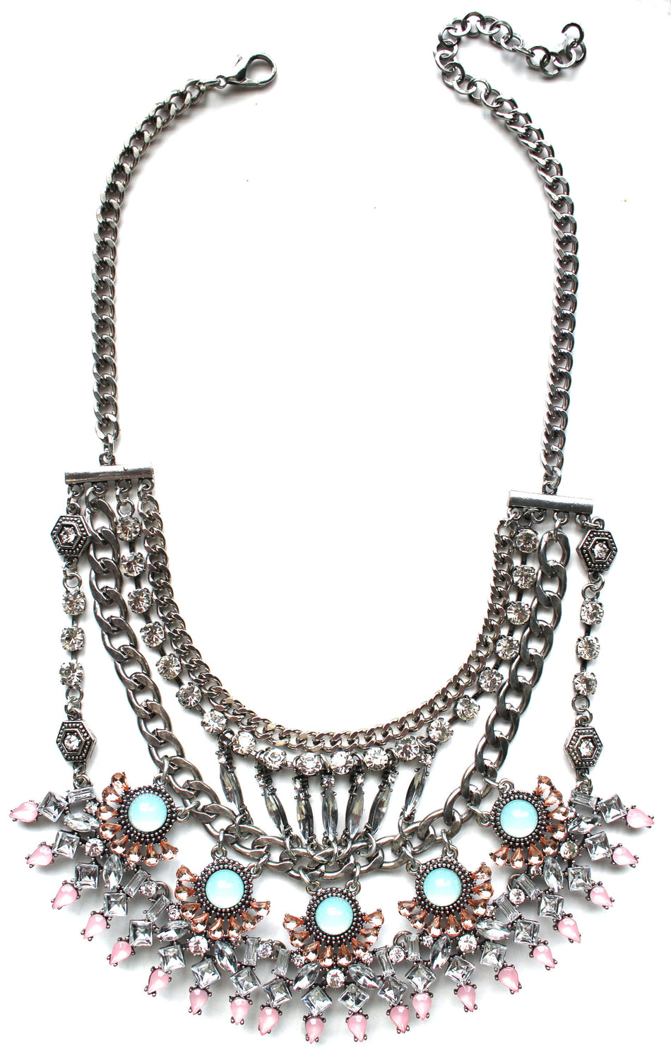 Glorious Pastel Stone Bib Necklace