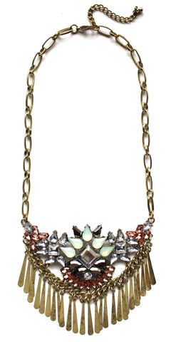 Boho Metal Fringe Stone Bib Necklace